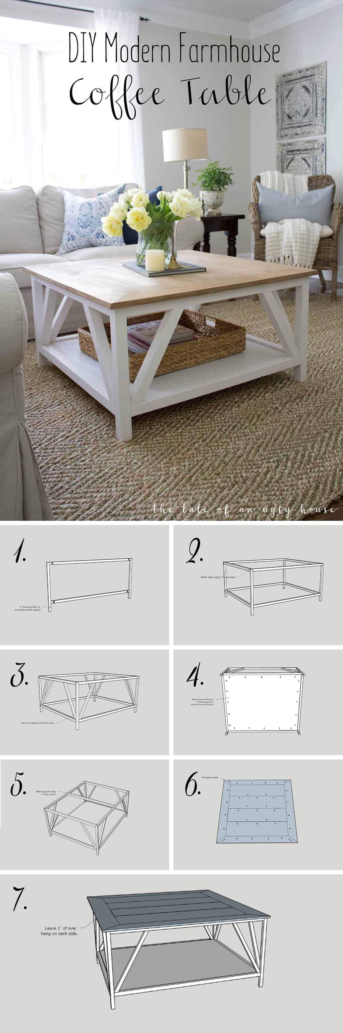 15 Easy Farmhouse Style Diy Coffee Table Motivation